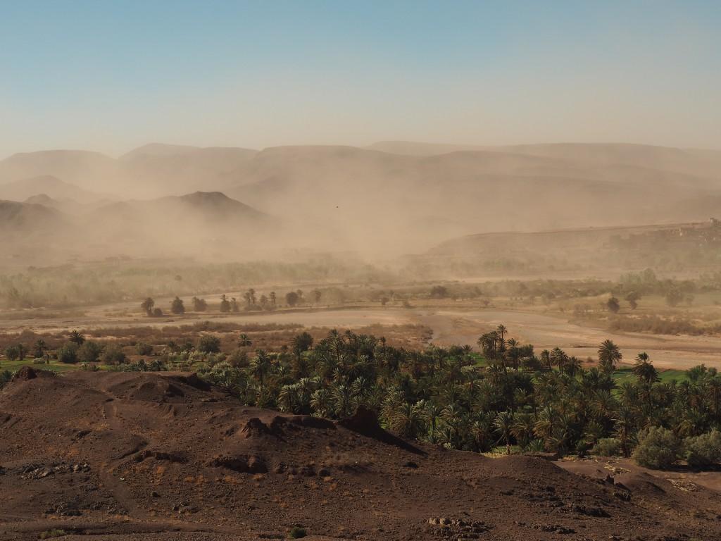 Sandsturm am Weg nach Ait Ben Haddou