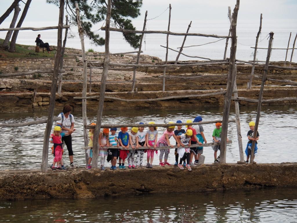 Schulklasse im Hafen